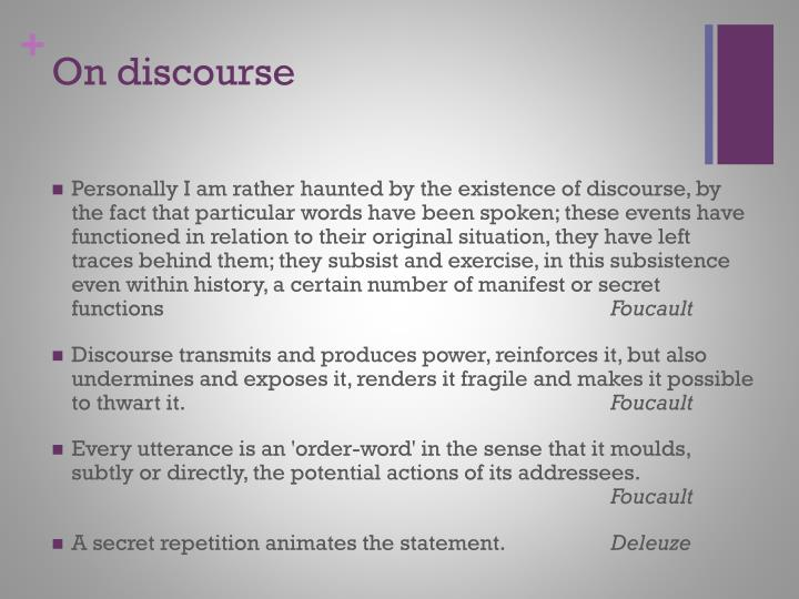 On discourse