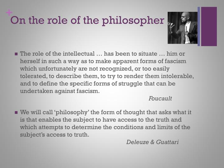On the role of the philosopher