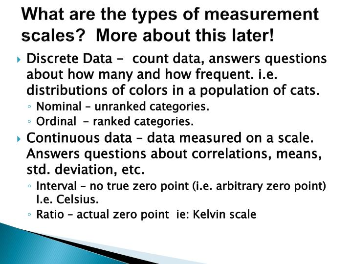 What are the types of measurement scales