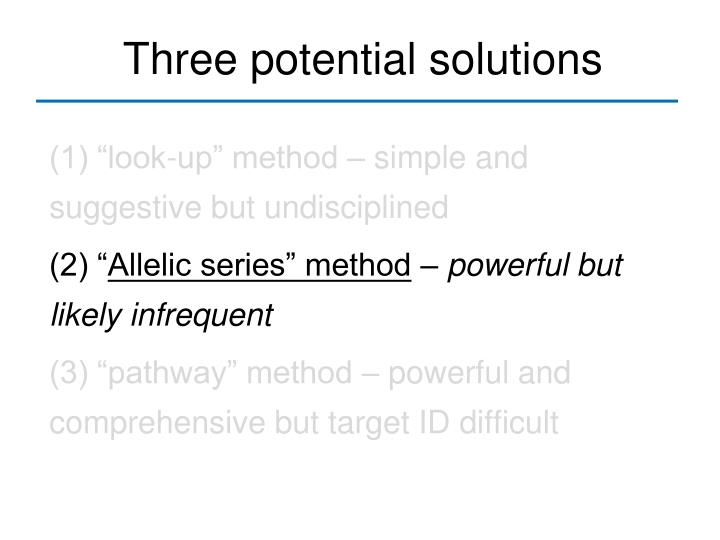 Three potential solutions