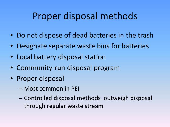 Proper disposal methods