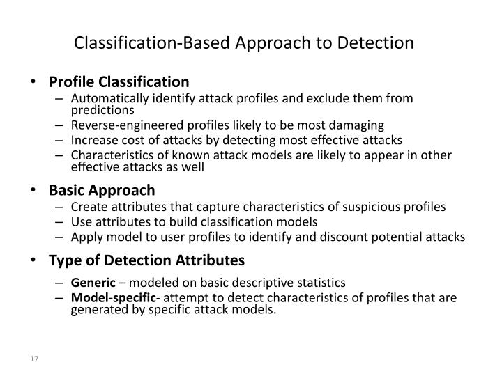Classification-Based Approach to Detection