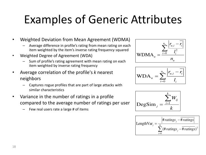 Examples of Generic Attributes