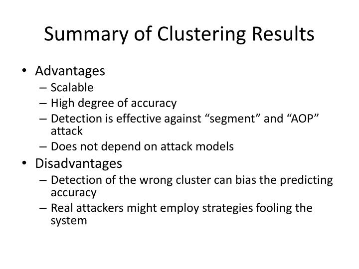 Summary of Clustering Results