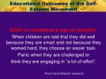 educational outcomes of the self esteem movement