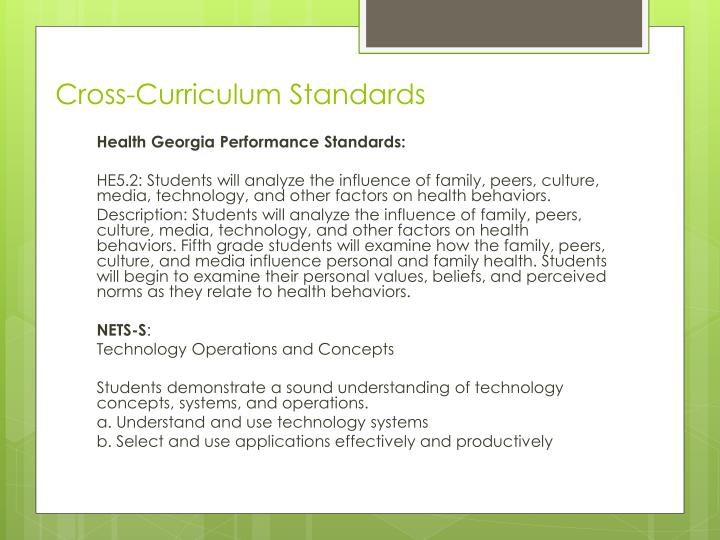Cross-Curriculum Standards