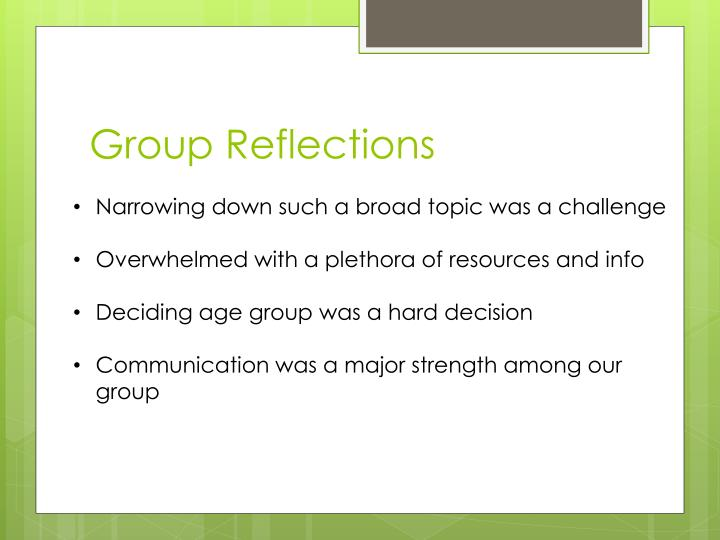 Group Reflections