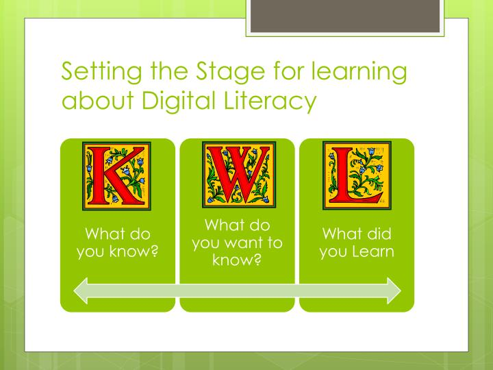 Setting the Stage for learning about Digital Literacy