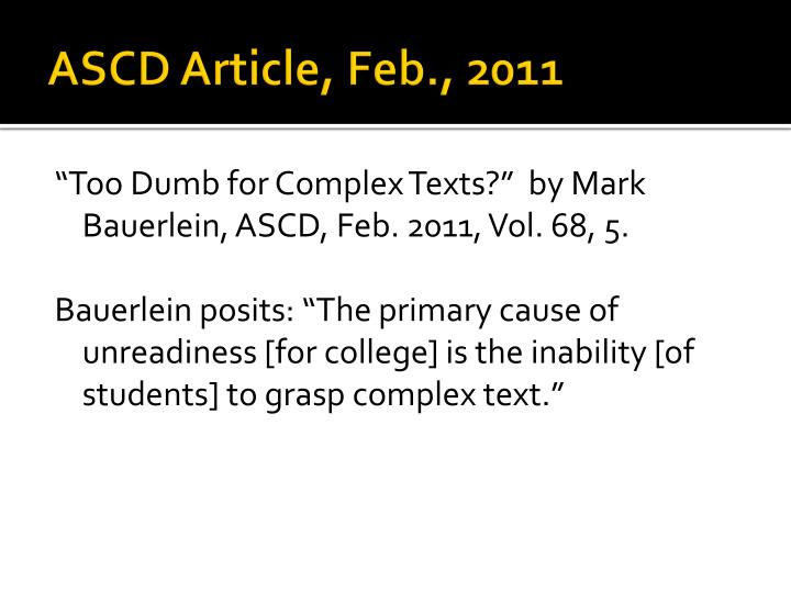 ASCD Article, Feb., 2011