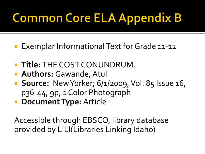 Common Core ELA Appendix B