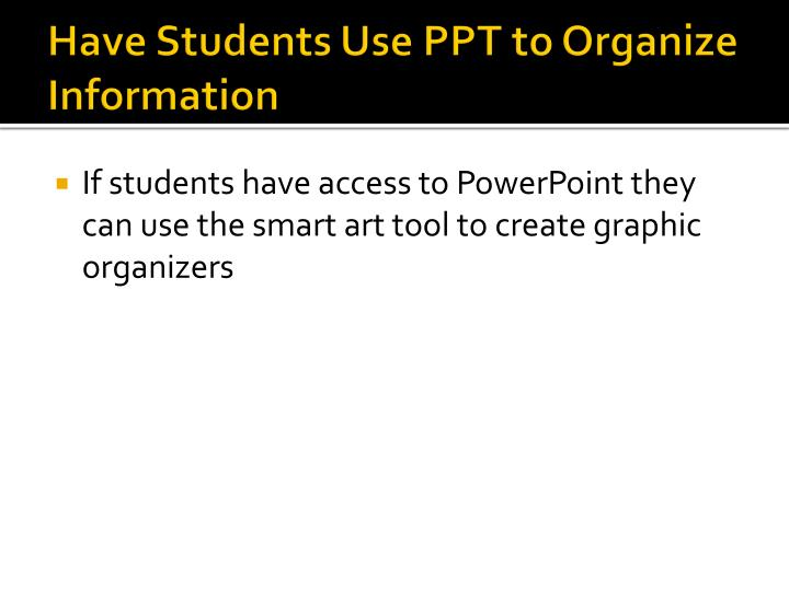 Have Students Use PPT to Organize Information