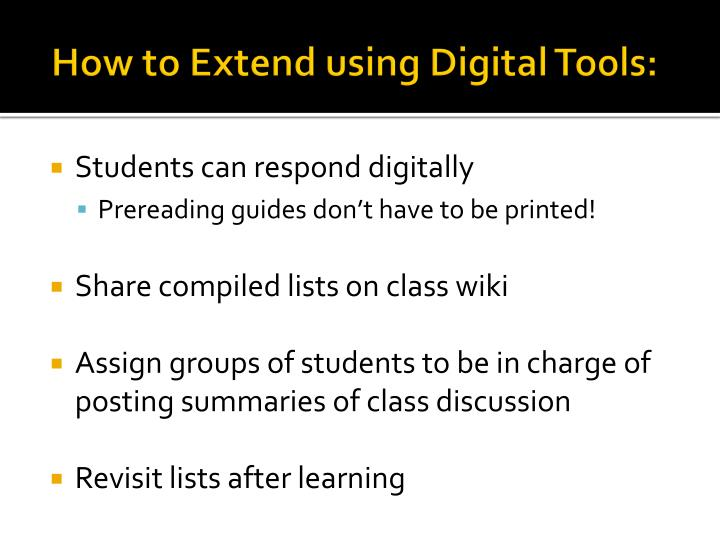 How to Extend using Digital Tools: