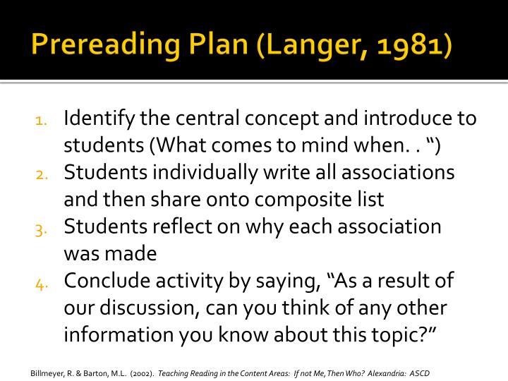 Prereading Plan (Langer, 1981)