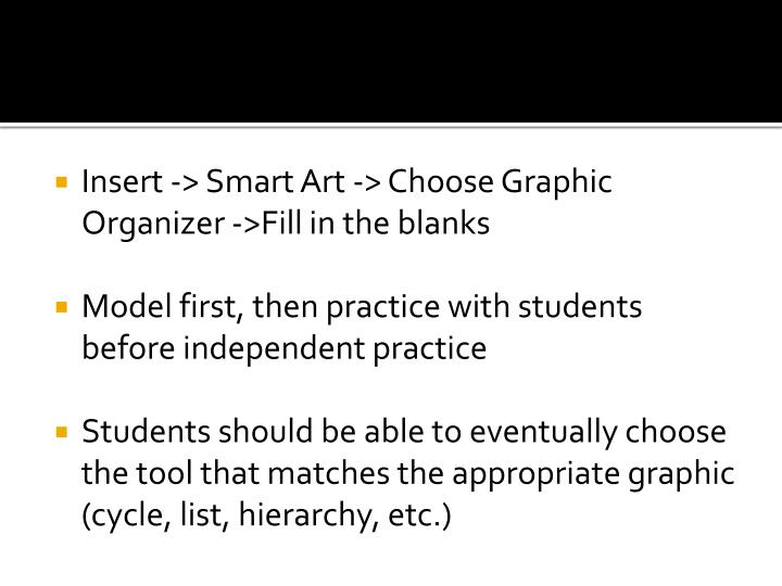 Insert -> Smart Art -> Choose Graphic Organizer ->Fill in the