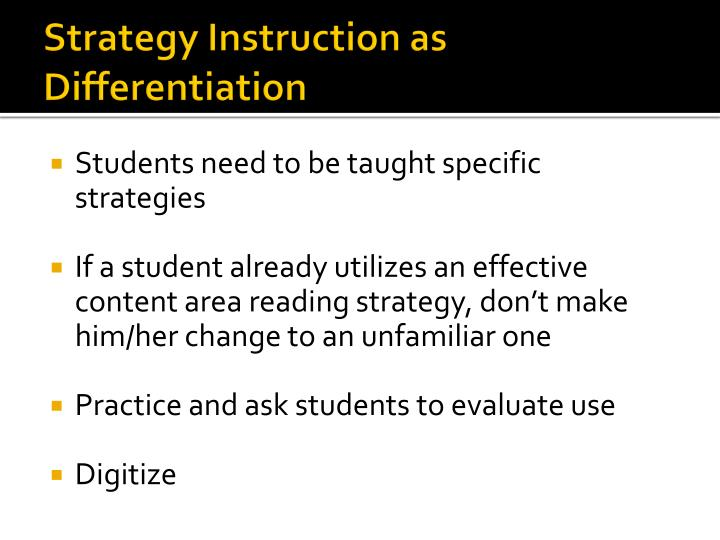 Strategy Instruction as Differentiation