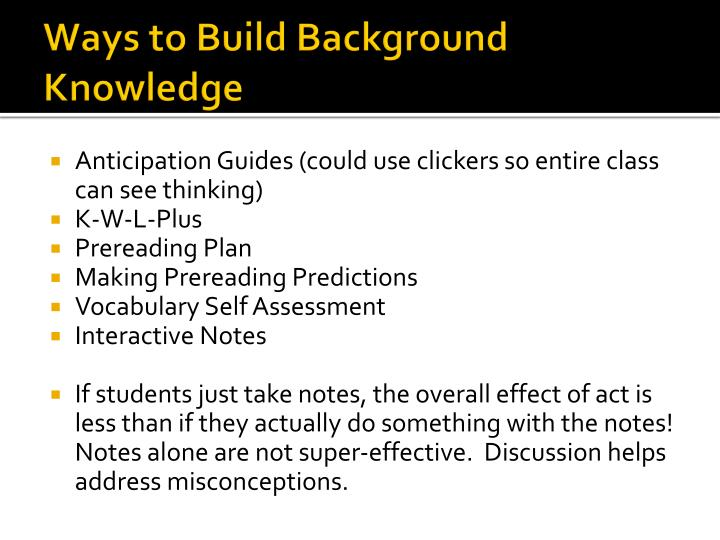 Ways to Build Background Knowledge