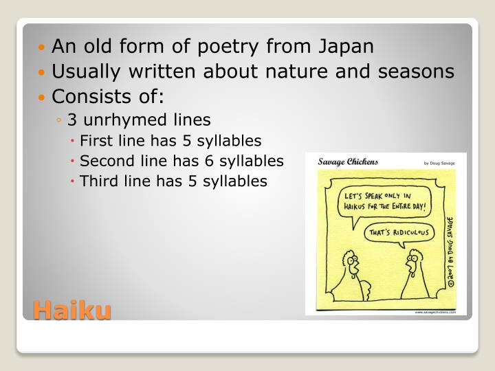 An old form of poetry from Japan