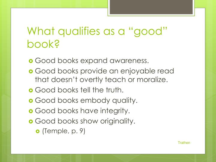 "What qualifies as a ""good"" book?"