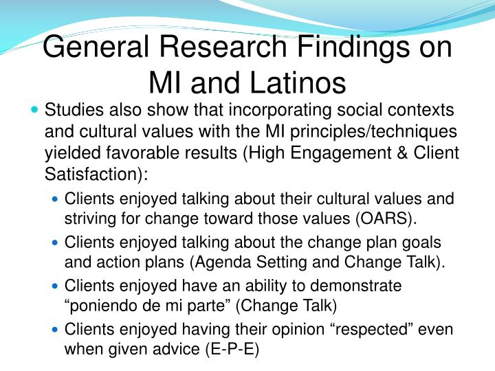 General Research Findings on MI and Latinos