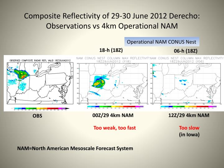 Composite reflectivity of 29 30 june 2012 derecho observations vs 4km operational nam