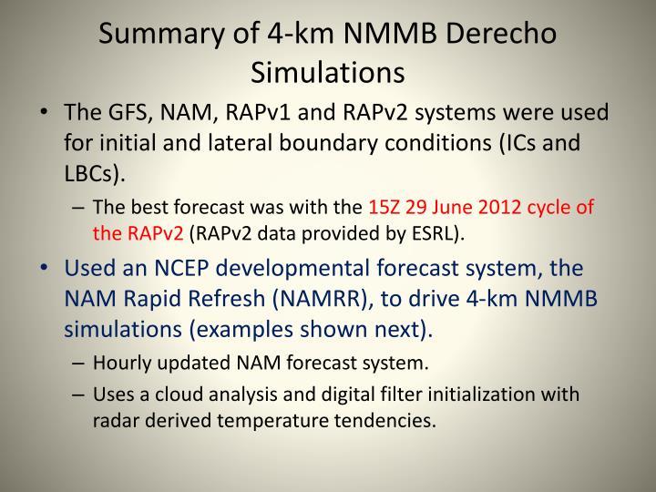 Summary of 4-km NMMB
