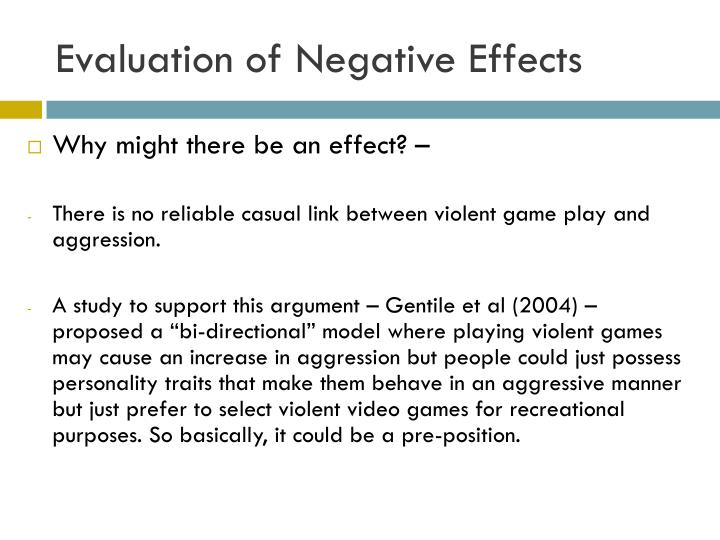 an analysis of the negative effects of violence in video games