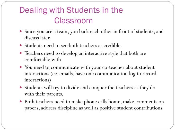 Dealing with Students in the Classroom