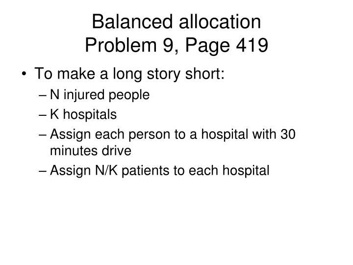 Balanced allocation