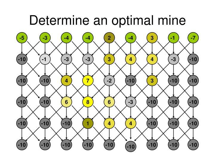 Determine an optimal mine