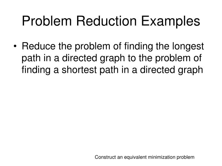 Problem Reduction Examples