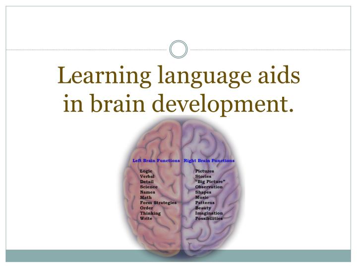Learning language aids in brain development