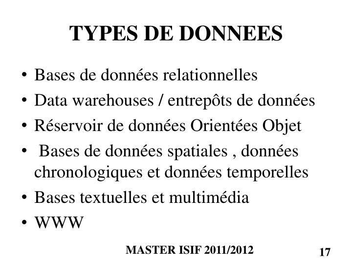 TYPES DE DONNEES