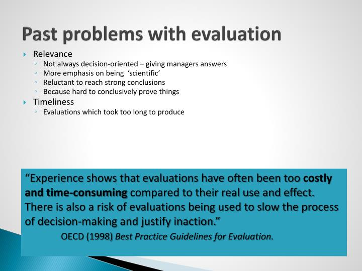Past problems with evaluation