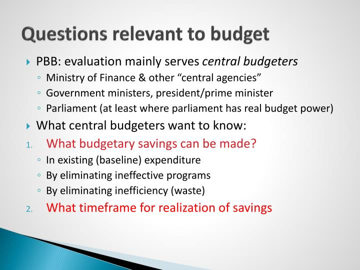 Questions relevant to budget