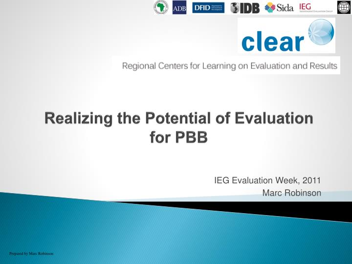 Realizing the potential of evaluation for pbb