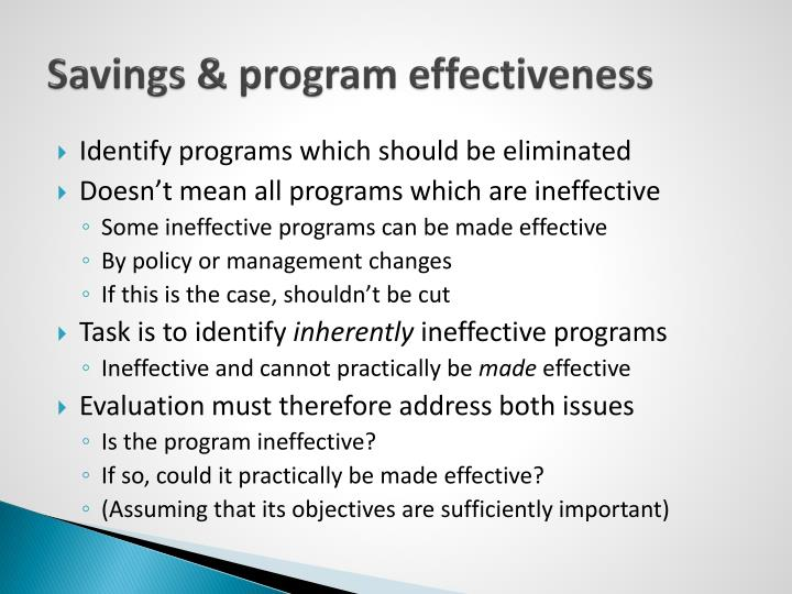 Savings & program effectiveness