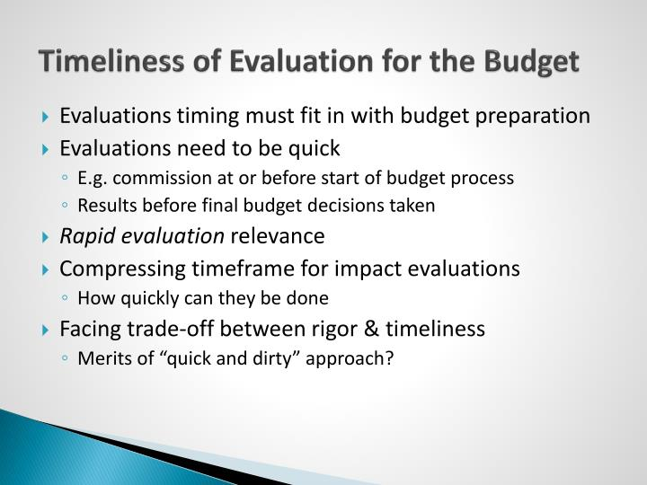 Timeliness of Evaluation