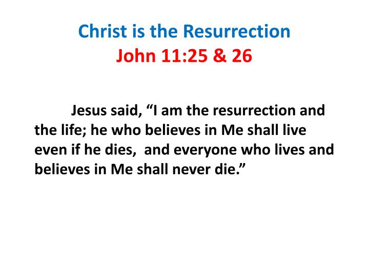 Christ is the Resurrection