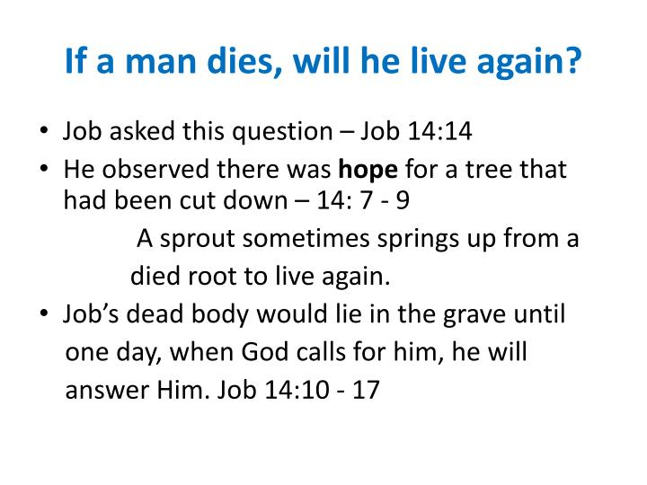 If a man dies will he live again