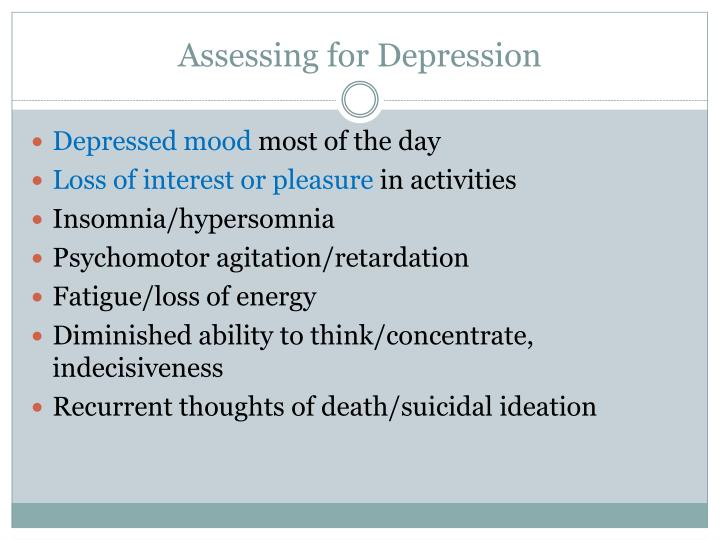 Assessing for Depression