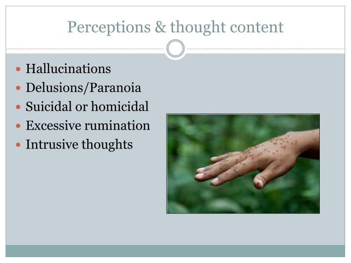 Perceptions & thought content