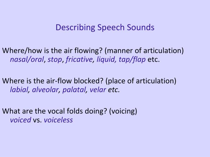 Describing Speech Sounds