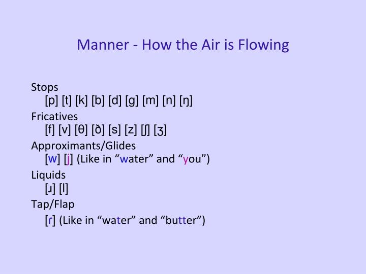 Manner - How the Air is Flowing