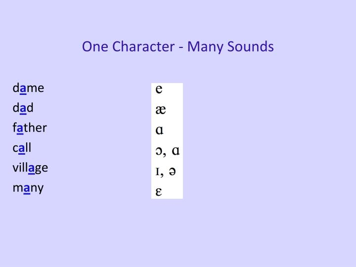 One Character - Many Sounds