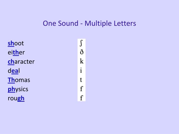 One Sound - Multiple Letters