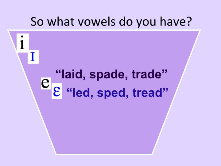 So what vowels do you have?