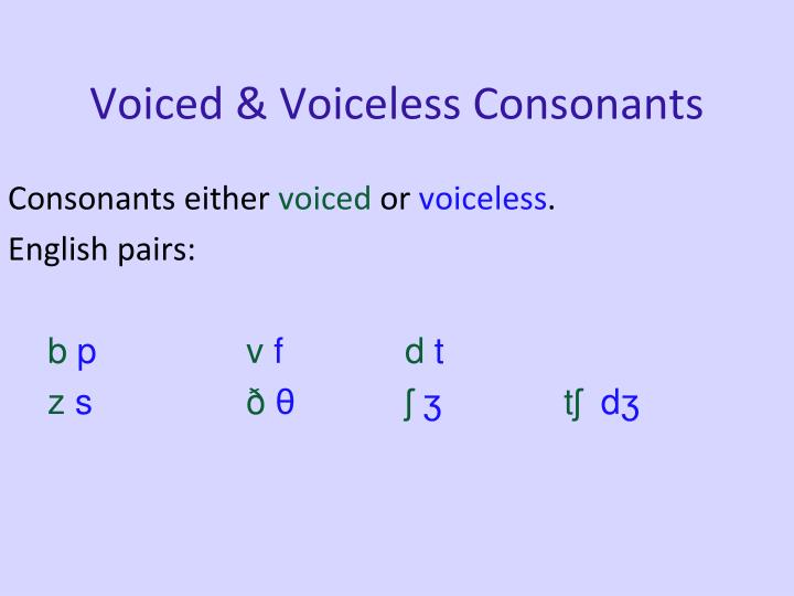 Voiced & Voiceless Consonants