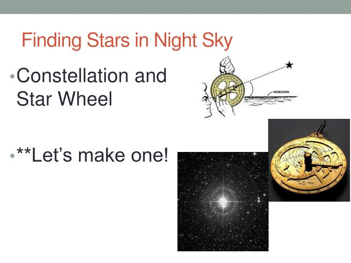 Finding Stars in Night Sky