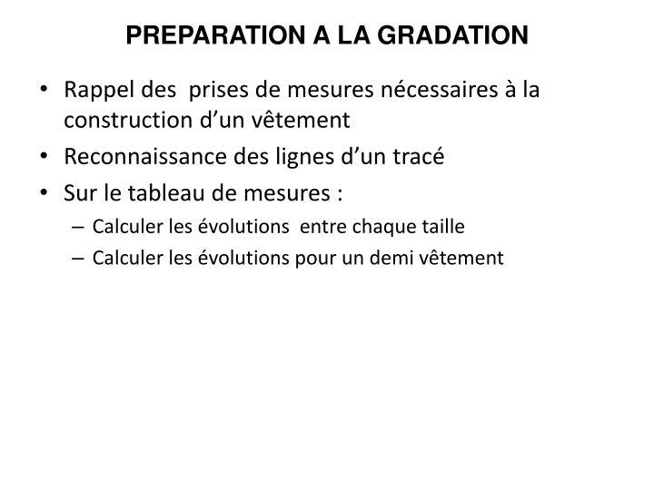 PREPARATION A LA GRADATION