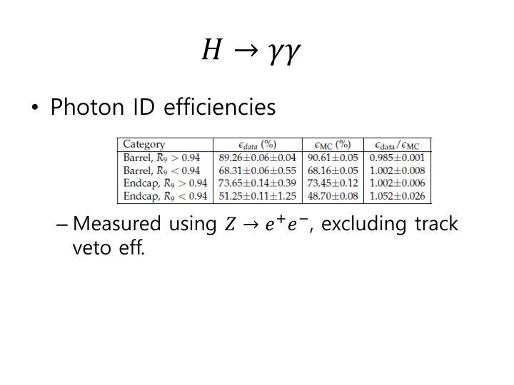 Photon ID efficiencies